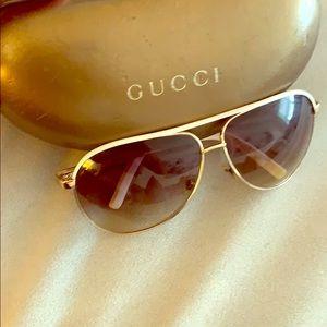 Gucci white and gold aviators